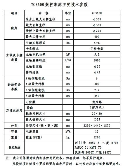 YC360H型数控车床参数表